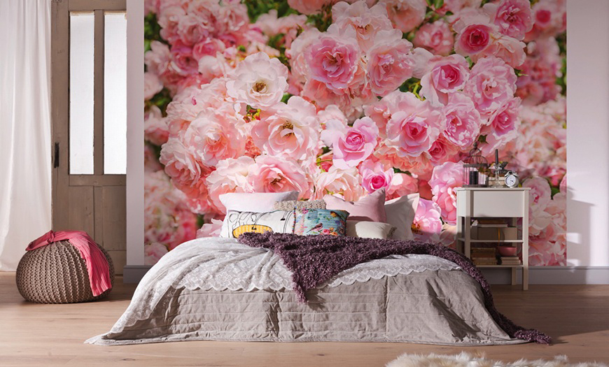цветы обои в интерьере